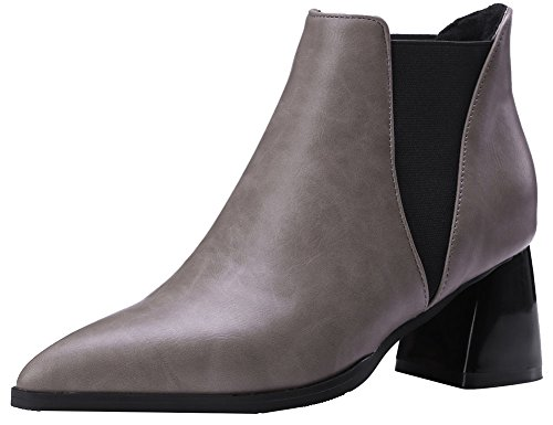Chunky Chelsea Heel Women's Grey Pointy Easemax Ankle Toe Booties Retro Mid Short FYwnZ6