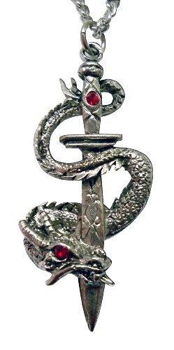 Gothic Dragon Wrapped Around Blade Medieval Renaissance Pendant Necklace (Magic Dragon Costume)