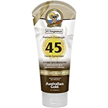 Australian Gold Sheer Coverage SPF 45 Faces Sunscreen with Instant Bronzer, 3 Fl Oz