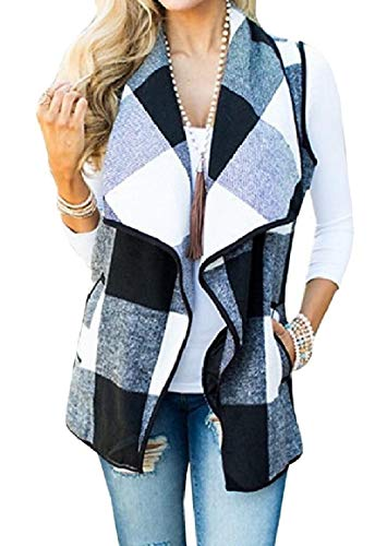 ホイッスル上昇バスNicellyer 女性ポケット付きラペルチェックアウトフロントフロントカラーノースリーブベストコート