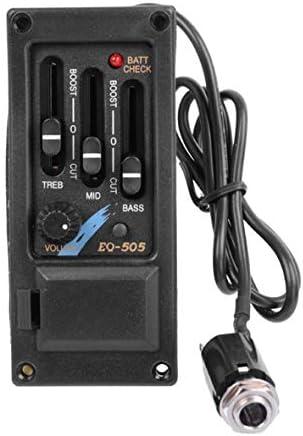 Tivollyff 配線済みギターサドルピックアップ3バンドEQイコライザーアコースティックギタープリアンプシステムイコライザーピエゾOvationボリュームコントロール用