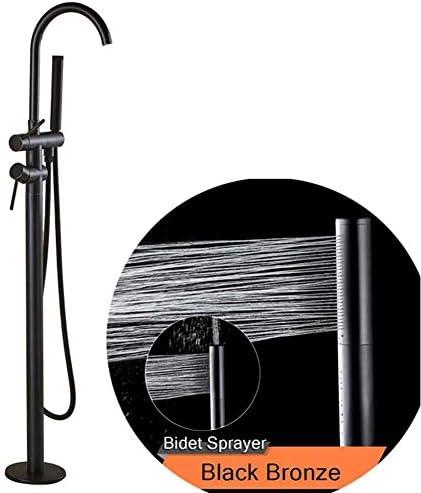 床に取り付けられたバスルームの浴槽の蛇口、ハンドシャワー付きの回転スパウトバスタブミキサーシングルポールクローフットバスシャワーセット,Black bronze