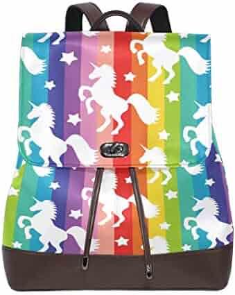 b826752e84e Rainbow Unicorn Star Women s Genuine Leather Backpack Bookbag School Purse  Shoulder Bag