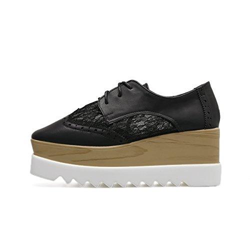 Women's Oxford Platform Up VFDB Black Lace Lace toe Mesh Square Fashion Shoes 1HZTqw