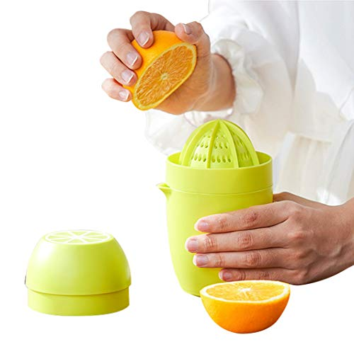Citrus Juicer, Orange Lemon Manual Juicer, Anti-Slip Lid Rotation Reamer Lime Press,16-OZ, Lemon Yellow/with Strainer and Container 2cups
