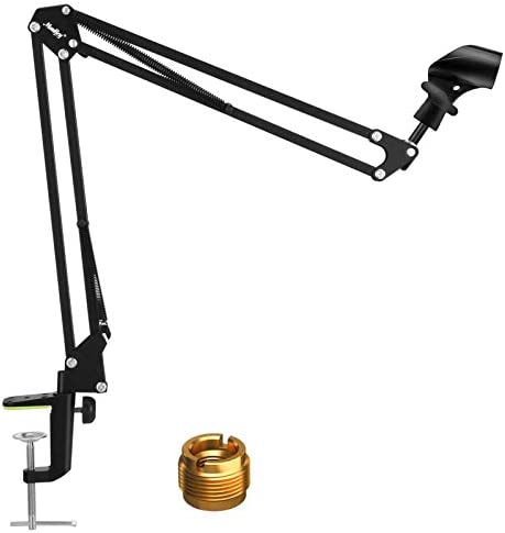 Microphone Stand Moukey Adjustable Suspension Mic Kit, Mic Scissor Boom, Compact Microphone Arm with Aluminum Base, for Broadcast Studio, Dubbing Studio, Stage, TELEVISION Station and also Live in the house-MMs-1