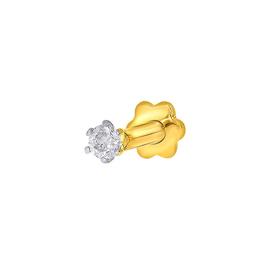 EternalDia 2.4mm Diamond Nose Stud/Lip Labret/Screw Ring Piercing Pin Bone 14Kt Gold 19 Guage (GH/I1 I2)