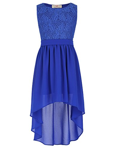 Girls Kids Lace Party High-low Chiffon Dresses 8-9yrs (Girls Hi Lo Pageant Dresses)