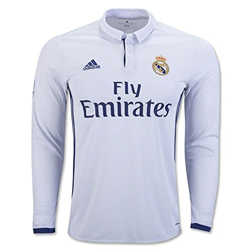aac76ebe317 adidas Men s Real Madrid Long Sleeve Home Soccer Jersey 2016 17 (X-Large)  White