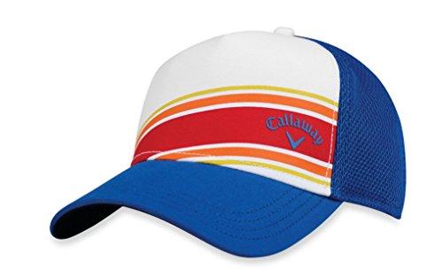 Callaway Golf 2018 Stripe Mesh Adjustable Hat, White/ Blue/ Blue