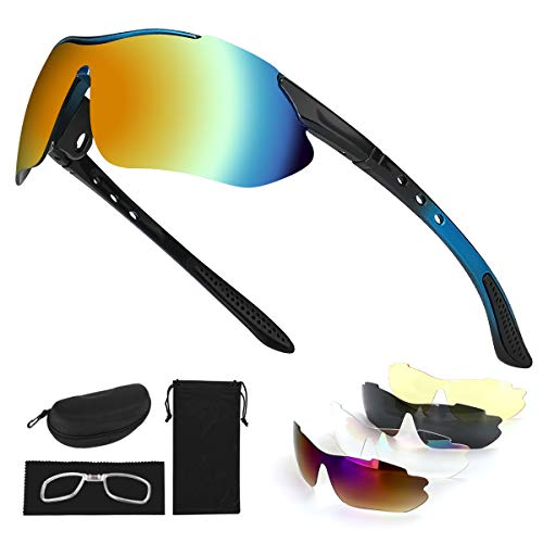 Tancci Sports Cycling Sunglasses, Bicycle Glasses with 5 Interchangeable Lenses-Ergonomic with Reducing Harmful UVA & UVB Rays for Men&Women Running/Golf/Fishing/Cycling/Outdoor Sports(Blue)