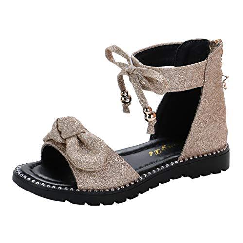 Vincent&July Children Infant Kids Baby Girls Cute Bowknot Bling Sequins Zipper Princess Shoes Sandal Gold