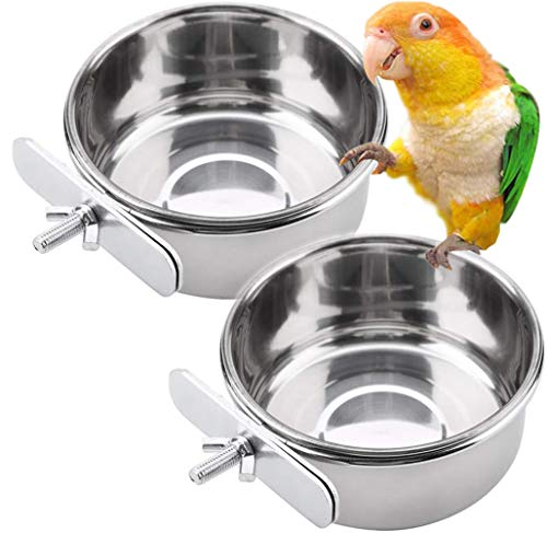 PINVNBY Parrot Feeding Cups Birds Food Dish Stainless Steel Parrot Feeders Water Cage Bowls with Clamp Holder for…