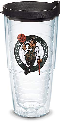 Tervis 1051588 NBA Boston Celtics Primary Logo Tumbler with Emblem and Black Lid 24oz, Clear