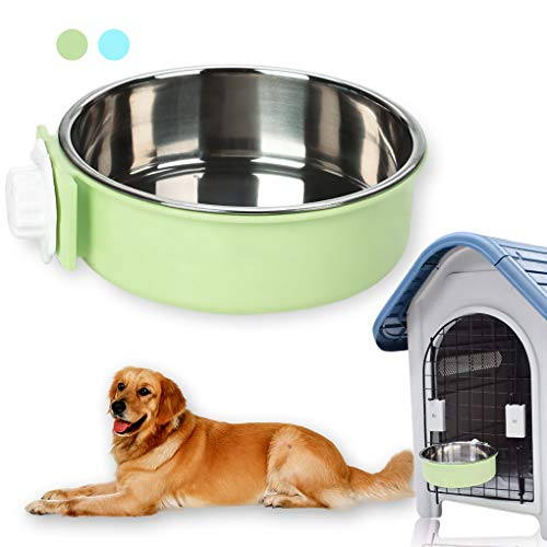 Andiker Pet Hanging Bowl 2-in-1 Removable Stainless Steel Food Hanging Bowl for Puppy/Cat, Pet Bowl Hanging Cage Large…