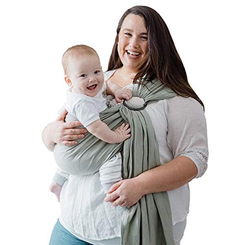 Nalakai Luxury Ring Sling Baby Carrier - Extra-Soft Bamboo and Linen Fabric - Lightweight Plus Size Infant Carrier Also for Newborns and Toddlers - Perfect Baby Shower Gift - Nursing Cover - Sage