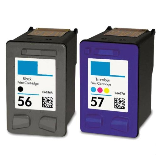 2 Pack Blk Ink - Rich_life 2PK For HP 56 C6656AN Blk & For HP 57 C6657AN Clr Ink Cartridge