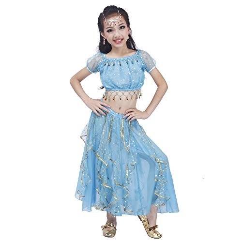 Maylong Girls Princess Dress up Belly Dance Skirt Halloween Costume DW52 (Large, Sky Blue) -