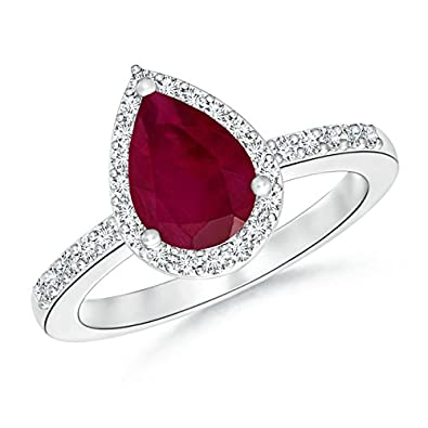 Angara Classic Three Stone Natural Ruby Ring With diamonds in 14k Yellow Gold M71kzN1W