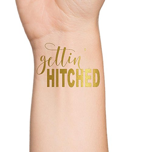 Getting Hitched (Gettin' Hitched Flash Tattoos, Gold Bachelorette Party Favors, Western Bachelorette Party, Getting Hitched Temporary Tattoo, Western Theme Bachelorette or Wedding, Metallic Gold, Set of 3)