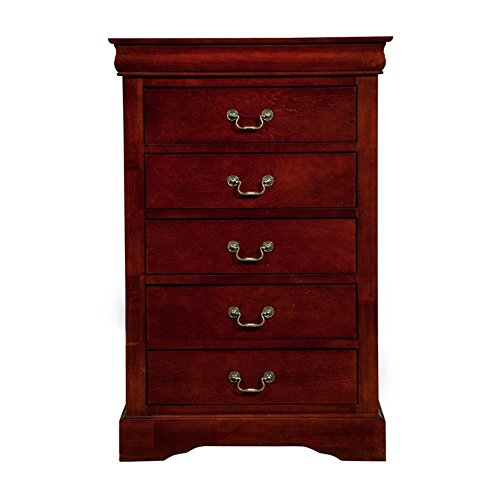 Alpine Furniture Louis Philippe II 5-Drawer Tall Boy Chest - Cherry