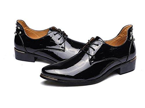 qianchuangyuan Chaussures de Ville pour Hommes Neuves Cuir PU à Lacets Bout D'affaires Oxfords Chaussures Noir dgme4eY71v