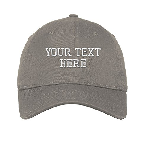 Grey 6 Panel Cotton Twill - Personalize Your Custom Text On Unisex Adult Flat Solid Buckle Cotton 6 Panel Unstructured Baseball Hat Adjustable Cap - Light Grey, One Size