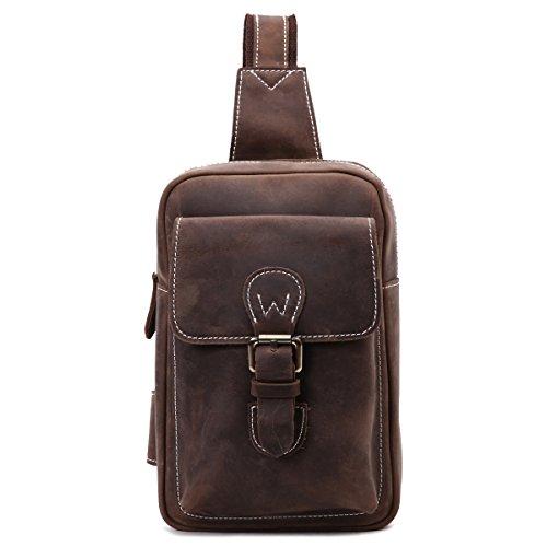 Leathario bolso bandolera de color café con La primera capa de cuero de caballo loco para viaje o trabajo. café 2
