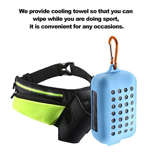 JIFAR 2019 Newest Hydration Running Belt with Cooling Towel, Multifunctional Waist Pack for Running Hiking Cycling Climbing Women&Men Sweat-Proof, Green(Bottle Not Included)
