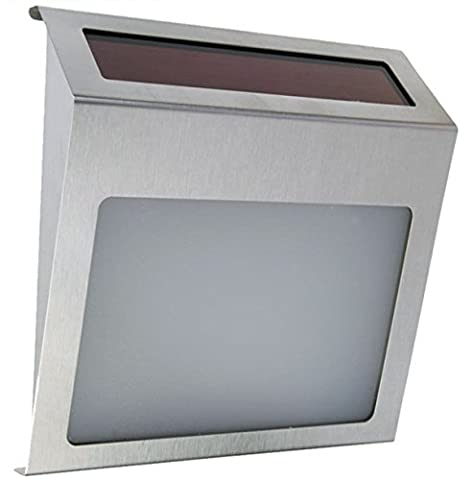 J-Creater Solar Powered 3 LED House Address Wall Number Light Stainless Steel Pannel Street Road (Steel House Numbers)