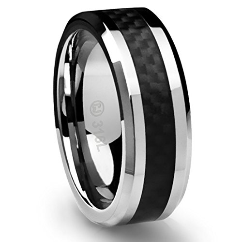 8MM Stainless Steel Promise Engagement Rings for Men | Wedding Bands for Him | Black Carbon Fiber Inlay [Size 11]
