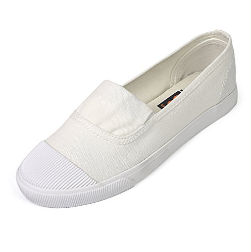 Women's Classic Canvas Slip-On Shoes Walking Flats 4Colors (6 B(M) US, White)