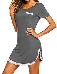 Ekouaer Womens Nightgown Sleep Shirt Dress Casual Pocket Short Sleeve