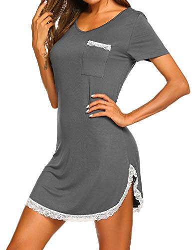 Sleepwear Women's Nightgown Cotton Sleep Shirt Lace Trim Short Sleeve V Nneck Sleep Tee Nightshirt Dark Grey S