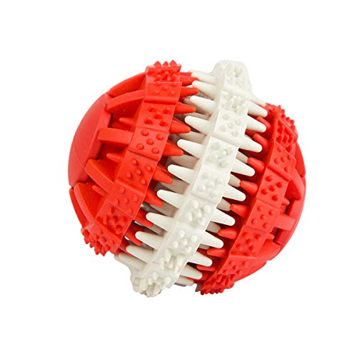Pety Pet Interactive Dog Treat Ball Food Ball for Keeping Puppies busy, Puzzle Toy for Mental Stimulation, Dental Treat Ball for dog's Dental Hygiene (Small, Red)