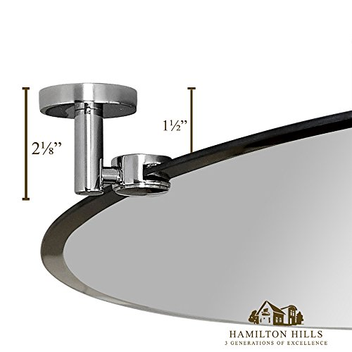"Large Pivot Oval Mirror With Polished Chrome Wall Anchors | Silver Backed Adjustable Moving & Tilting Wall Mirror |  24"" x 36\"" Inches"