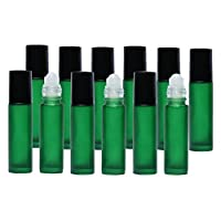12 New Glass Roll-On Bottles, 10 ml Roller Bottles for Blending Aromatherapy and Using Essential Oils, Frosted Green UV Protective Roll On Bottle - Precision Ball Applicator - .2ml Dropper Included.