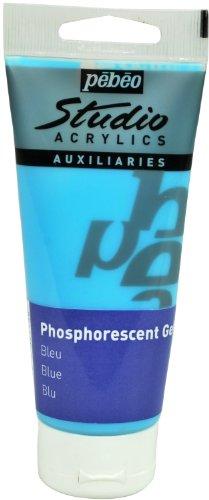 Pebeo Studio Acrylics Auxiliaries, Phosphorescent Gel, 100 ml - Blue by Pebeo