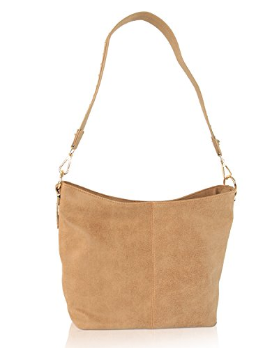 Steve Madden Bsawyer Stud Top Zip Shoulder Hobo Handbag - (Camel Leather Handbags)
