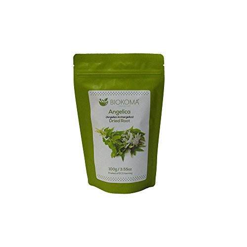 100% Pure and Organic Biokoma Angelica Dried Root 100g (3.55oz) in Resealable Moisture Proof Pouch