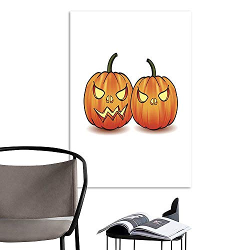 UHOO Linen Art Prints PicturesIllustration of Scary Jack O Lantern Halloween Pumpkin.jpg Wall Art for Bedroom Living Room 20