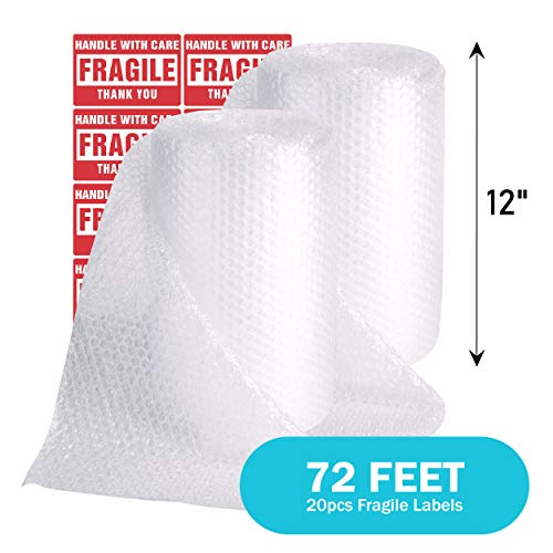 "TeiKis 2-Rolls (12"" x 72 Feet) Bubble Cushioning Wrap Roll 3/16"" Perforated Every 12"""