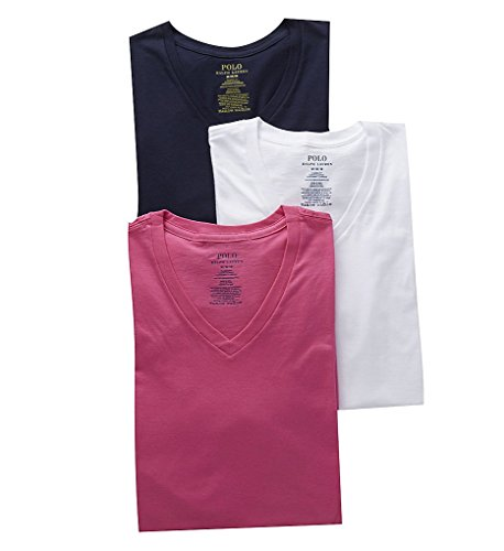 Polo Ralph Lauren Classic Fit 100% Cotton V-Neck Shirts - 3 Pack (LCVNS3) M/Navy Pony/Pink/White