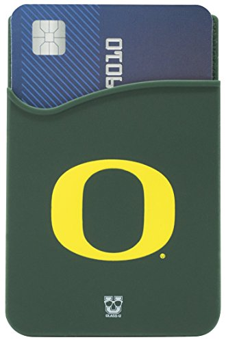 Oregon Ducks Adhesive Silicone Cell Phone Wallet/Card Holder for iPhone, Android, Samsung Galaxy, Most Smartphones