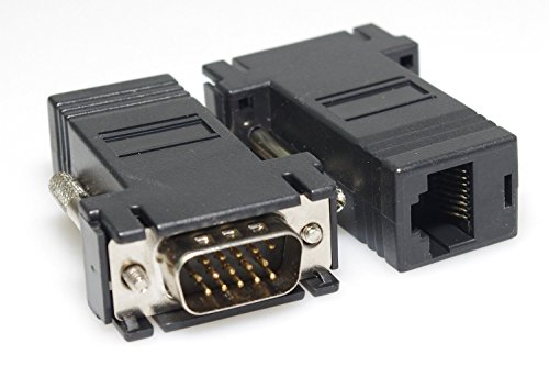 SMAKNÂ 2 Black VGA Extender Adapter to Cat5/cat6/rj45 Cable