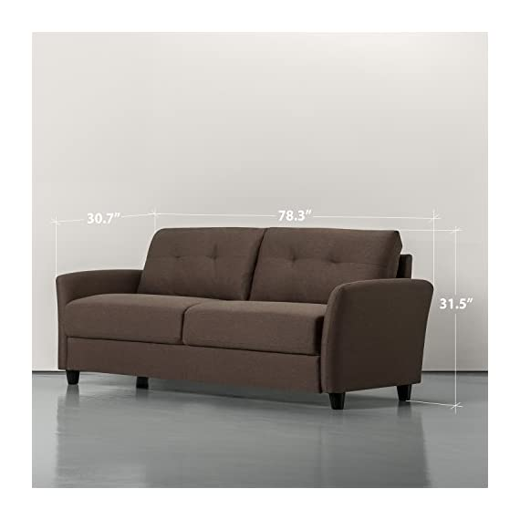 "Zinus Contemporary Upholstered, Sofa, Chestnut Brown - DIMENSIONS: 78.4 x 30.7 x 31.5 in | Weight: 86.31 lbs CONTEMPORARY COMFORT, FRONT AND CENTER - Infinitely suitable for an array of spaces, the tufted Ricardo brings comfort and contemporary flair into your home and is available in a wide variety of shades, so it can strike the right ""tone"" wherever it sits BUILT TO LAST - A naturally strong frame is wrapped in supportive foam cushioning and durable woven fabric; seats a maximum weight capacity of 500 lbs; seat cushions are secured to the frame and are not detachable, while back cushions are detachable - sofas-couches, living-room-furniture, living-room - 411289ooNUL. SS570  -"