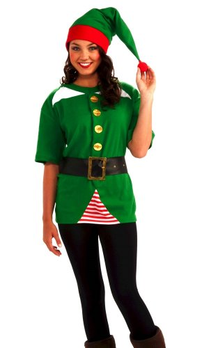 Elf Costumes For Halloween (Forum Novelties Unisex Adult Jolly Elf Costume Kit, Green/Red, One Size)