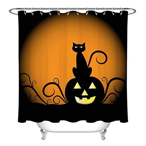 LB Black Cat Pumpkin Cartoon Clip Art Shower Curtains for Bathroom, Halloween Autumn Themed Curtain, 70 x 70 Inch Fabric Shower Curtain Waterproof Mildew Resistant -