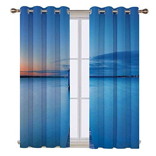 - SATVSHOP Window Curtain Drape - 108W x 84L Inch- Decorative Curtains for Living Room.Lake House Sunrise Over Water Lakehouse Cabin Boardwalk Sunlight Clouds Horizon Nature Blue Orange Gray.