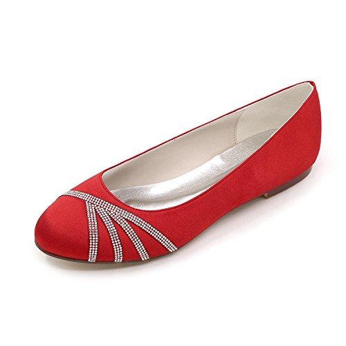 Mujer Rojo De Redonda Blanco Seda Rosa Weddingchampagne Punta Con Plateado Red Morado yc L Zapatos Pisos Tacón Plano Azul wgtfgqp